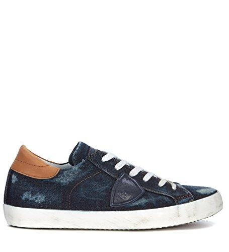 Philippe Model Mens Paris Blue Denim Sneaker Blue BccJprv8Ro