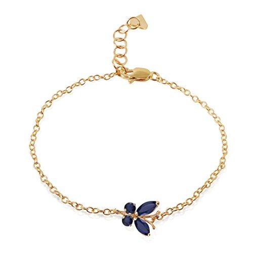 14k Yellow Gold Sapphire Butterfly Bracelet