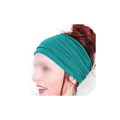 Headband Women Hairband Wide Elastic Stretch Running Head Wrap Scarf Hair Accessories,Cyan