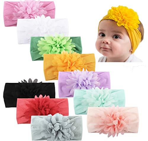 Baby Girl Nylon Headbands Newborn Infant Toddler Hairbands Children Bows Petal Flower knotted Soft Headwrap Hair - Headband Flower Infant