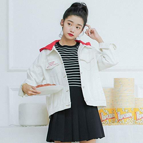 Lunga Bianca Manica colore Studente Dimensioni Da Cappotto Cappuccio A Nz Con Bianco Bianca Denim Donna Di Moda Abbottonatura L In CtawqEA