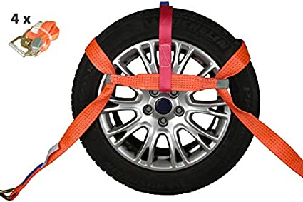 Profix 4x Spanngurt Autotransport 50mm Radsicherung Reifengurt Zurrgurt Pkw Anhänger Auto