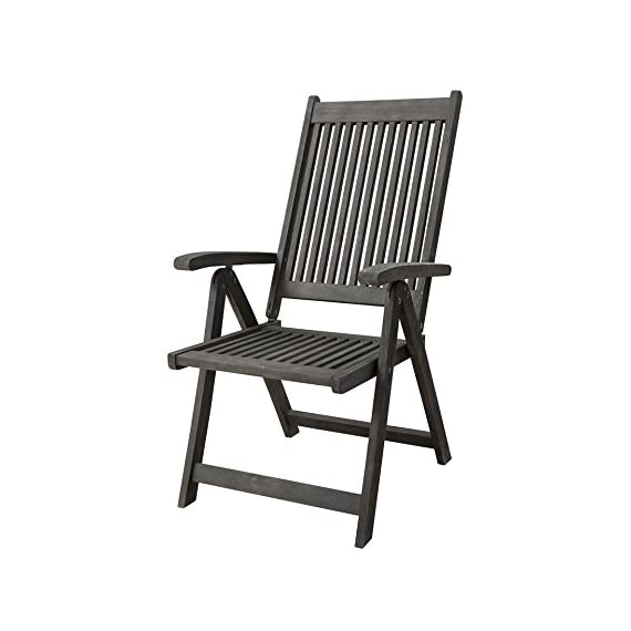 Vifah V1803 Renaissance Outdoor Patio 5-Position Reclining Chair, Hand-Scraped Wood - High back, slatted seat, with armrests, foldable, reclinable No cushion or pillows included 1 year warranty against manufacturing defects - patio-furniture, patio-chairs, patio - 41DUdCqm4hL. SS570  -
