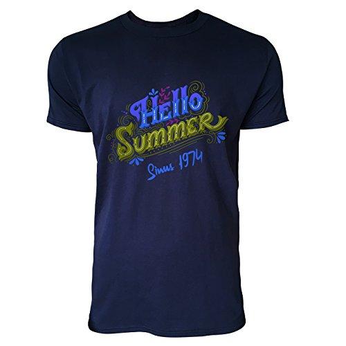 SINUS ART® Vintage Typographie – Hello Summer Herren T-Shirts in Navy Blau Fun Shirt mit tollen Aufdruck