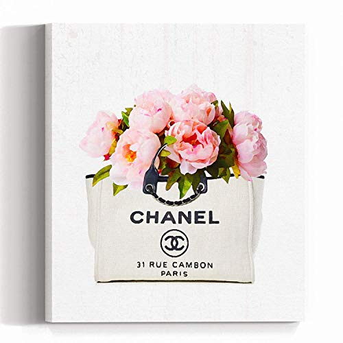 (Wall Art Pop Art on Canvas - Fashion - Luxury Glam Chanel Peonies Bag - Logo- Poster - Pop Art- Wall Gallery Home Decoration 1126)