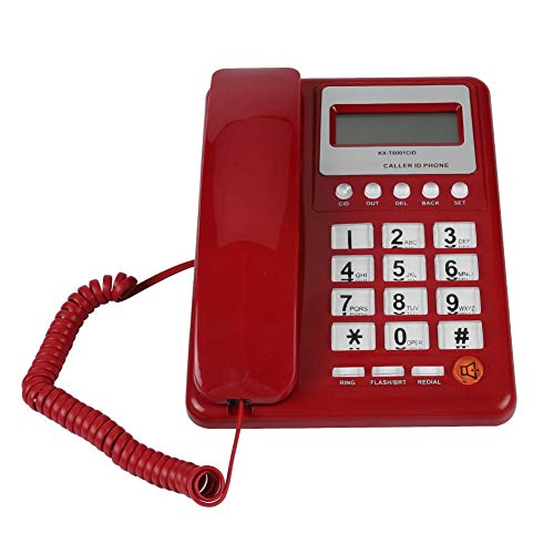fosa Corded Desk Telephone with Caller ID Display, Red Wired Landline Fixed Telephone DTMF/FSK Phone with Flash & Redial Function, Perfect for Home Hotel School -