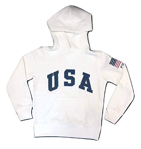 RALPH LAUREN Kid's Polo USA Flag Fleece Hoodie Pullover (Small (8), - American Heritage Hoodie