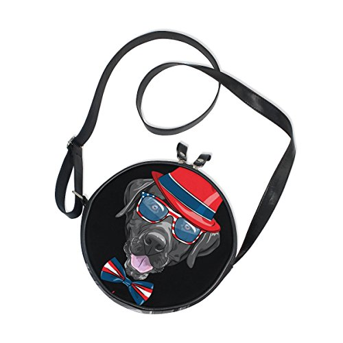 Girls Hats Shoes Purses - XinMing Black Dog Hat Bowknot Girl Round Crossbody Shoulder Bags Adjustable Top Handle Bags Satchel for Women