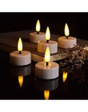 PChero Flameless Flickering Tealights Candles with Timer, 12 Packs 3D Candle Wicks Battery Operated LED Votive Tea Lights for Wedding Centerpieces Home Party Decor