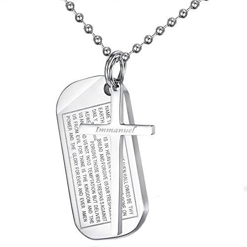 - HIJONES Men's Titanium Bible Cross Necklace Jesus Scripture Military Dog Tag Pendant, Silver