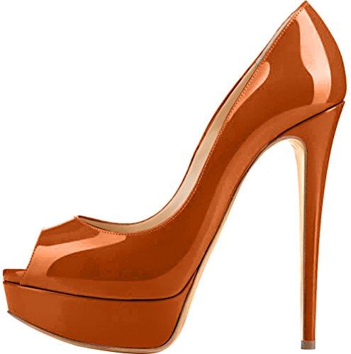 Trusify Mujer 15cm EU tamaño 34-46 Truthunder Tacón de aguja 15CM Sintético Sandalias de vestir Marrón