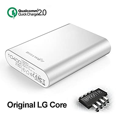 Qualcomm Power Bank, BlitzWolf 10400mAh QC2.0 Quick Charge Portable Charger Phone External Battery Pack 5V 9V 12V Input/Output for Samsung Galaxy S5 S6 Edge S7, Note 4 5 Edge, HTC, Sony Xperia
