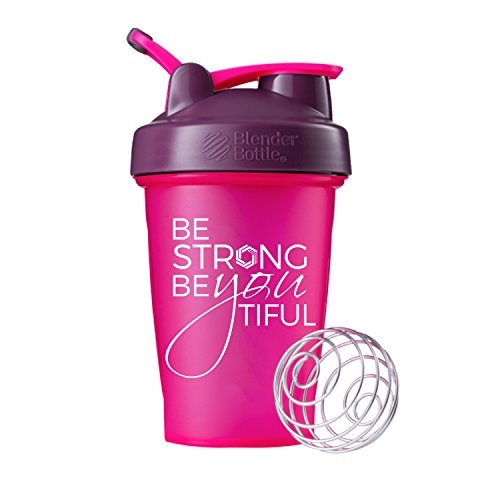 Be Strong BeYOUtiful Blender Bottle, 20oz Classic Protein Shaker Cup (Pink/Plum - 20oz)