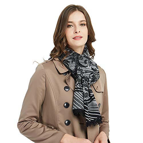 CUDDLE DREAMS Women's Silk Scarves for Winter, 100% Mulberry Silk Brushed, Luxuriously Soft (Ornamental Iron Black - Ornamental Silk