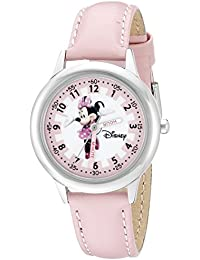 Kids' W000038 Minnie Mouse Time Teacher Stainless Steel Watch with Pink Leather Band