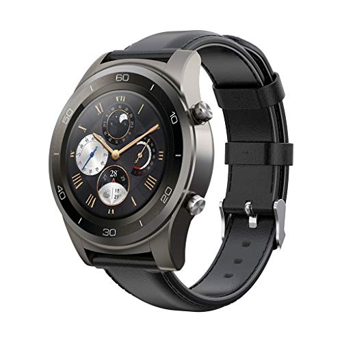 (Cywulin Genuine Leather Band for Amazfit Stratos 2 and 2S, 22mm Replacement Xiaomi Huami Amazfit Bip BIT PACE Smartwatch Wrist Strap Accessories for Women Men Huawei Watch 2 Classic (Black))