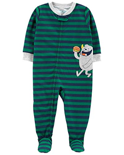 (Carter's Boy's Snug-Fit One-Piece Footed Pajamas (3T, Green Stripe/Monster))