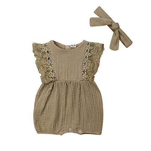 (Newborn Infant Baby Girl Lace Sleeve Linen Romper Jumpsuit Sleeveless Bodysuit Outfit with Headband Summer Clothes (Army Green, 0-6)