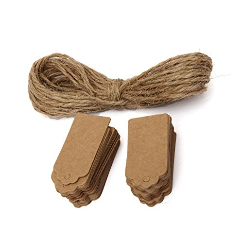(100pcs/set Brown Kraft Paper Gift Tags Scallop Label Blank Note with Hanging String)