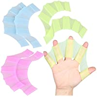 3Color Silicone Hand Webbed Swimming training Gloves Water Frog Claws for Swimming SurfingDiving(Package of 3)