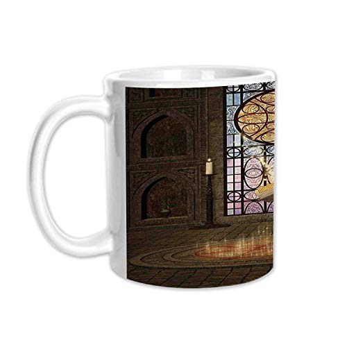 Gothic Stylish White Printed Mug,Lectern on Pentagram Symbol Medieval Architecture Candlelight in Dark Spell Altar for Living Room Bedroom,3.1
