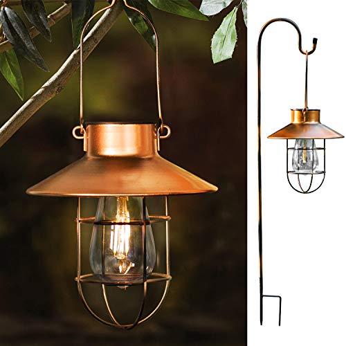 ROJOY Hanging Solar Lights Lantern Lamp With Shepherd Hook, Metal Waterproof Edison Bulb Lights for Garden Outdoor Pathway (Copper)