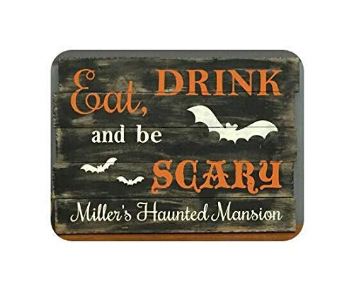 Iliogine Vintage Wood Sign Halloween Personalized Fall Rustic Autumn Halloween Custom Quotes Sayings Bats Scary Home Decor Wall Plaque Home Sign Gift]()