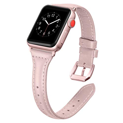 Watch Leather Pink (Secbolt Leather Bands Compatible Apple Watch 38mm 40mm Slim Replacement Wristband Sport Strap Iwatch Nike+, Series 4 3 2 1, Pink Rose Gold Buckle)
