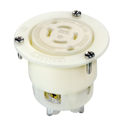 Leviton 2416 20 Amp, 125/250 Volt, Flanged Outlet Locking Receptacle, Industrial Grade, Grounding, White