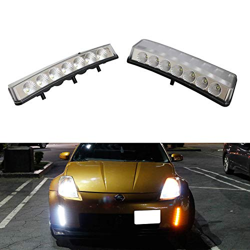 iJDMTOY Clear Lens Switchback LED Daytime Running Lights For 03-05 Nissan 350z (Pre-LCI), Direct Fit Dual Color Front Bumper Reflector Replacement Powered by 7 LED Chips Each Lamp
