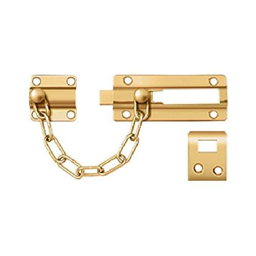 Deltana Polished Bolt - Deltana CDG35CR003 Solid Brass Chain Door Guard