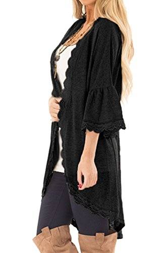 Chunoy Women Casual Spring Kimono Bell Sleeve Hollow Out Lace Short Cardigan Black X-Large by Chunoy (Image #3)