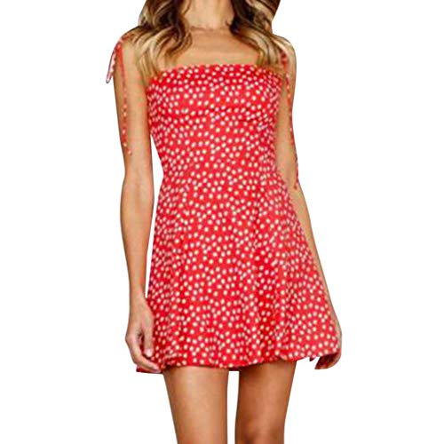 Landfox New Years eve Dress,Dress for Women, Party and Evening Dot Mini Dress,Women's Sleeveless Wear Slim Fit Suit Sets Red ()
