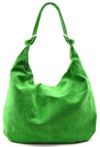 OH MY BAG Sac à main cuir veau velours femme - Modèle Love Vert Pomme-