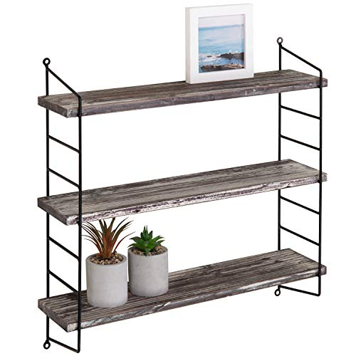 (MyGift Wall-Mounted 3-Tier Torched Wood & Metal Adjustable Shelf)