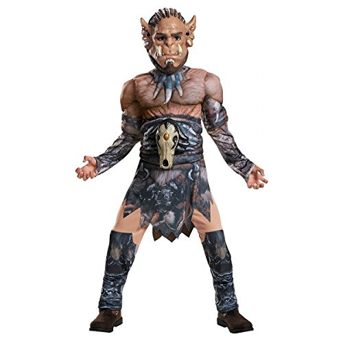 Legendary World of Warcraft Durotan Child Costume Boys Orc Muscle Jumpsuit Mask (Muscle Suits)