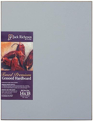 Jack Richeson 1611418 Richeson Mid-Tone Grey Toned Gessoed 1/8 Hardboard 14''X18'' by Jack Richeson