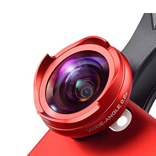 Waitousanqi Mobile Phone Lens, New Non-Distortion, No Dark Angle, Wide Angle, Macro, Two-in-one Set, Universal, 4K HD Anti-Distortion Without Dark Angle n12 (Color : Red)