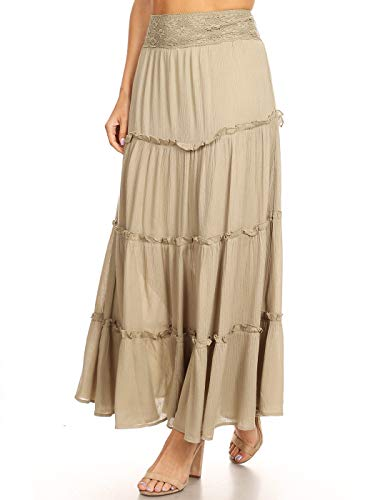 (Anna-Kaci Womens Bohemian Gypsy Long Elastic Waist Maxi A-Line Tiered Skirt, Faded Sage, Medium)