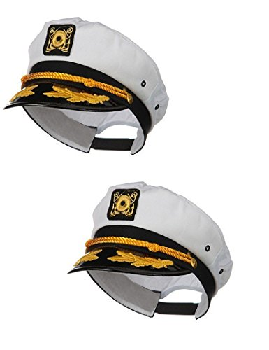 Gilligan's Island Captain Costume (Sailor Ship Yacht Boat Captain Hat Navy Marines Admiral White Gold Cap 2 Pack)