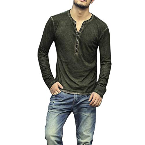 KASAAS Henley Shirts for Men Vintage Half Button Up Tops Solid Long Sleeve Round Neck Casual Fashion Pullover T-Shirts(Large,Green)