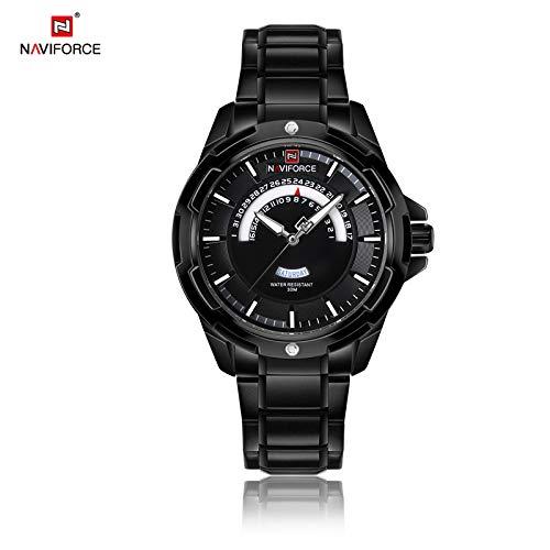 HWCOO Relojes Reloj de Cuarzo NAVIFORCE / 9121 Banda de Acero para Hombre (Color :