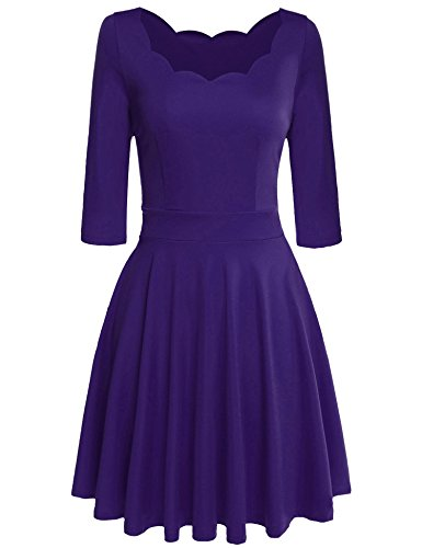 ELESOL Women's Elegant Scallop Neck Fit and Flare A Line Cocktail Party Dress,Purple,X-Large