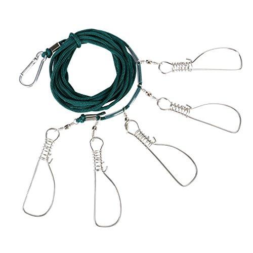 RUNCL Fishing Stringer Clip, Stainless Steel Fish Lock, Fish Holder, Large Fish Stringer, Kayak Stringer for Fish with 5 Metal Snaps (10cm)