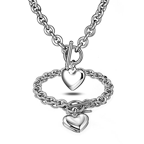 (Heart Pendant Necklace and Bracelet Chain Stainless Steel Silver Drop White Jewelry Set)