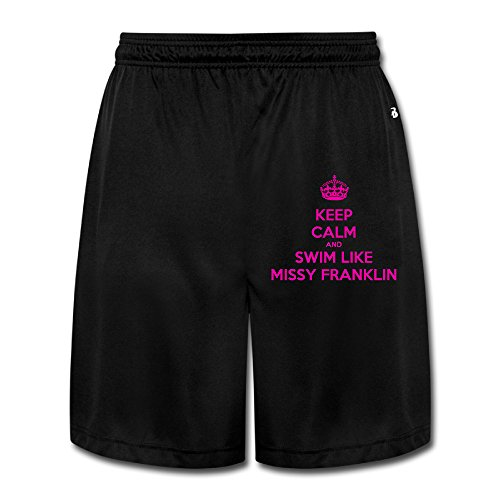 Texhood MEN'S Keep Calm And Swim Like Missy Franklin Basketball Sport Shorts Size - Strange Olympic Sports