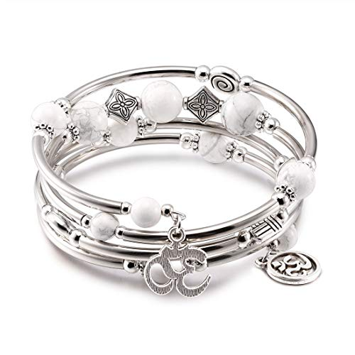CAT EYE JEWELS Wrap Bangle Bracelet Natural Howlite Beads Gemstone OM Charm Boho Jewelry B010