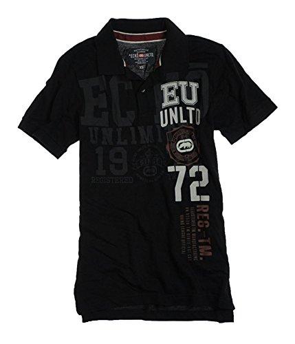 Ecko Unltd. Mens Ss Numeral Rugby Polo Shirt, Black, X-Small