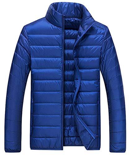 Giù Lunga Giacca Invernale Ultraleggero Uomini Colore Esterno Cappotto Caldo Unico Solido Blau Biran 0wSdf0