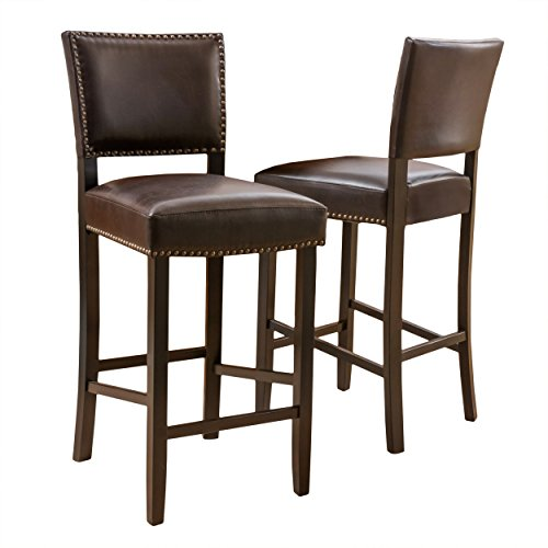 Christopher Knight Home 295976 Denise Austin William Bonded Leather Backed Barstool (Set of 2), Brown